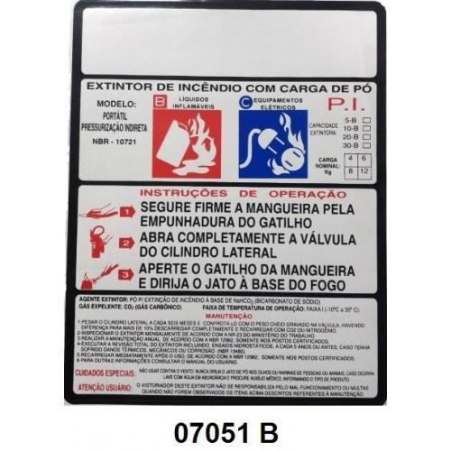 07051 B - Pó Indireta - Rótulo modêlo standard pó pressurização indireta 4/6/8/12 kg