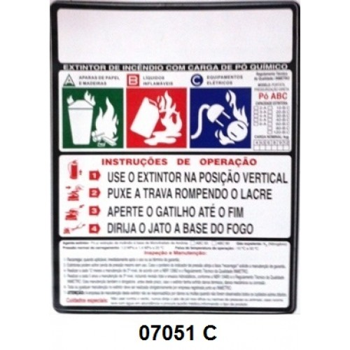 07051 C - Pó ABC - Rótulo modêlo standard pó ABC pressurizado 4/6/8/12 kg