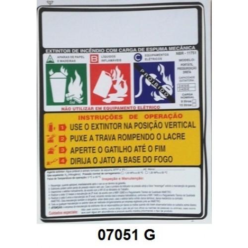 07051 G - Espuma Mecãnica - Rótulo modêlo standard espuma mecânica pressurizada 9 e 10 Lt