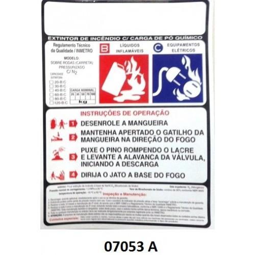 07053 A - Carreta Pó - Rótulo carreta pó pressurizado 20/30/50/70/100 kg