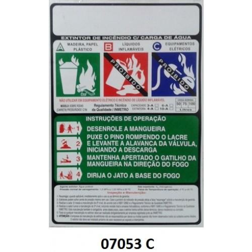 07053 C - Carreta AP - Rótulo carreta água pressurizada 50/75/100 Lt
