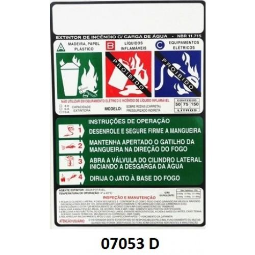 07053 D - Carreta AP Indireta - Rótulo carreta água pressurização indireta 50/75/150 Lt